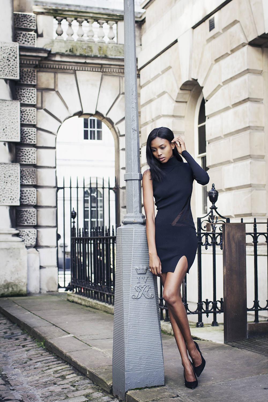 Self-Portrait Black Geometric Intarsia Mini Dress-3